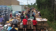Providing food for firefighters in Parry Sound