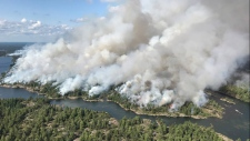 An aerial view of the Parry Sound 33 fire