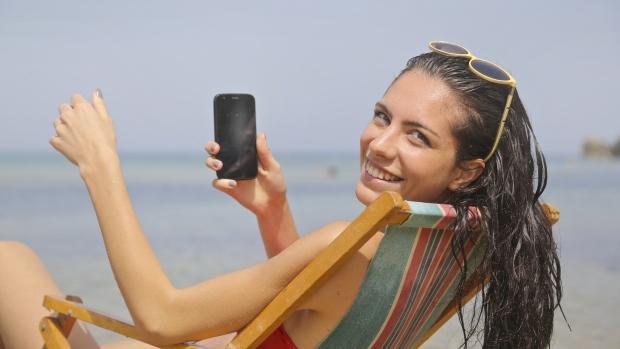 Phone on beach