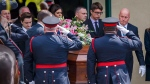 Pallbearers carry the casket at a funeral for 18-year-old Danforth shooting victim Reese Fallon in Toronto, Monday July 30, 2018. THE CANADIAN PRESS/Mark Blinch