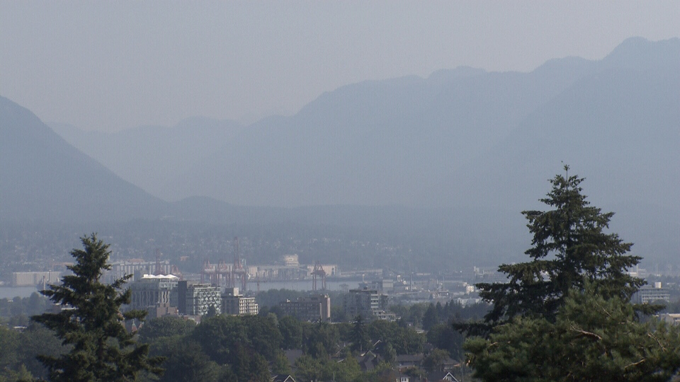 Hazy skies are seen over Vancouver on July 30, 2018.