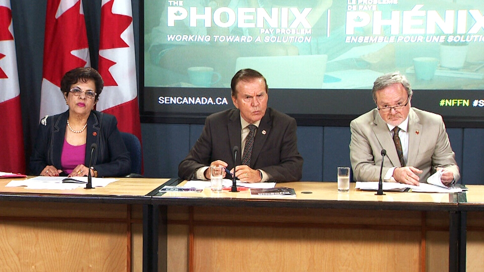 Left to right, Sen. Mobina Jaffer, Sen. Percy Mockler and Sen. Andre Pratt speak about the release of a Senate finance committee report on the Phoenix pay system, in Ottawa, Tuesday, July 31, 2018.