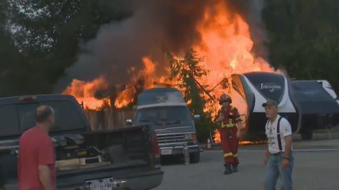 An aggressive fire burned two trailers to the ground at Arbutus RV in Merville. Monday, July 30, 2018. (CTV Vancouver Island)