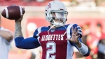 Montreal Alouettes quarterback Johnny Manziel warms up prior to a CFL football game against the Edmonton Eskimos in Montreal on July 26, 2018. (THE CANADIAN PRESS / Graham Hughes)