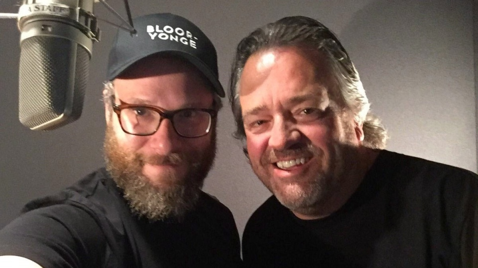 Actor Seth Rogen and Toronto Transit Commission spokesman Brad Ross are shown in a photo from Ross's Twitter account, @BradTTC. THE CANADIAN PRESS/HO-Twitter-@BradTTC