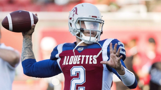 Montreal Alouettes quarterback Johnny Manziel warms up prior to a CFL  football game against the Edmonton Eskimos in Montreal on July 26 4d91f9ee8