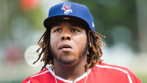 Buffalo Bisons third baseman Vladimir Guerrero Jr. warms up during batting practice before playing against the Lehigh Valley IronPigs in Buffalo, N.Y., on Tuesday, July 31, 2018. THE CANADIAN PRESS/Nathan Denette