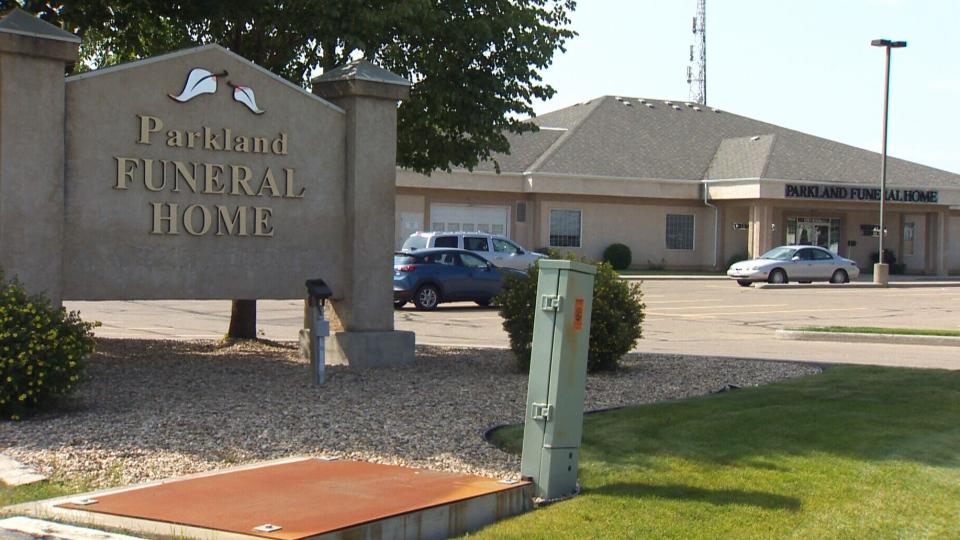 A van was stolen from a funeral home in Red Deer, Alberta.