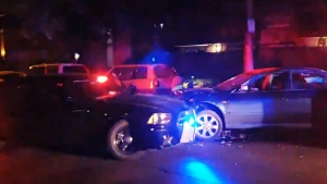 Authorities say a young suspect rammed a police cruiser then fled on foot Monday night in Vancouver's Fairview neighbourhood.