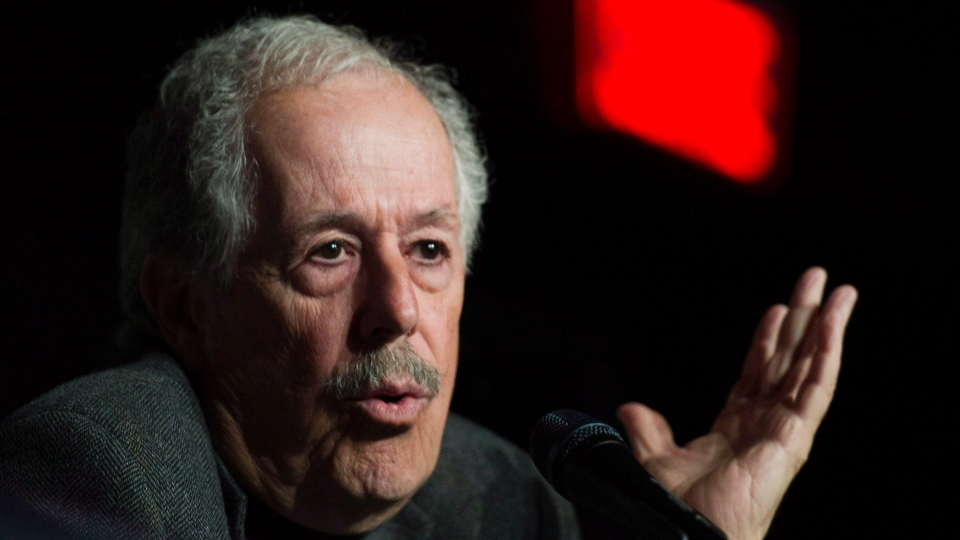 Filmmaker Denys Arcand speaks during a news conference to promote his latest movie in Montreal, Tuesday, May 6, 2014. THE CANADIAN PRESS/Graham Hughes
