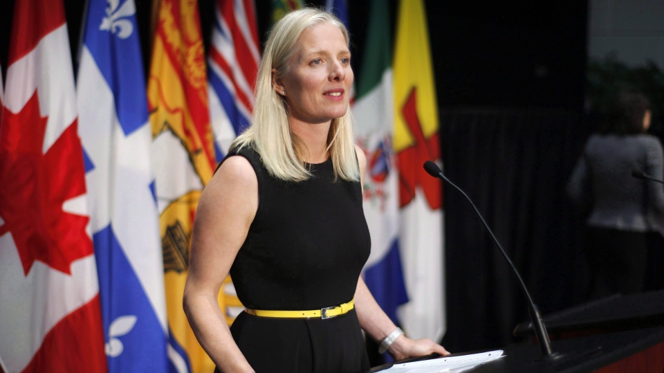 Environment and Climate Change Minister Catherine McKenna speaks at a press conference after a meeting with provincial and territorial environment ministers in Ottawa on Thursday, June 28, 2018. (Patrick Doyle / THE CANADIAN PRESS)