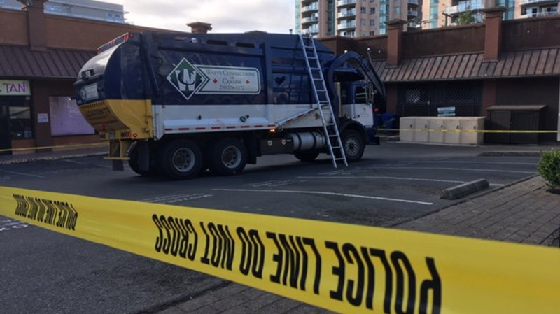 A man was killed when the dumpster he was in was emptied into a garbage truck's waste crusher in Victoria Wednesday morning. Aug. 1, 2018. (CTV Vancouver Island)