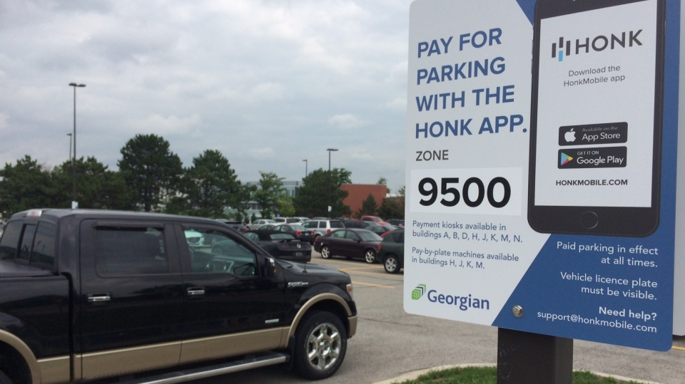Georgian College introduces a new parking app on Wednesday, Aug 1, 2018. (Don Wright/CTV News)