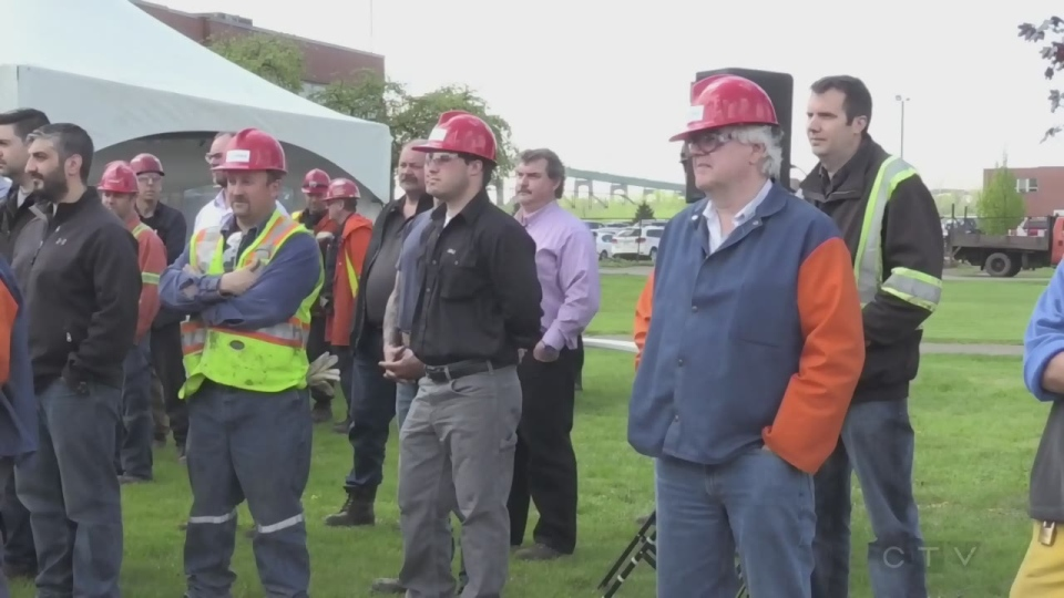 Algoma steel workers gather for news