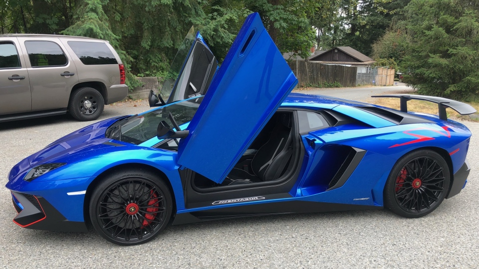 A Lamborghini Aventador that was impounded in Maple Ridge on Aug. 2, 2018 is seen in this image provided by the RCMP.
