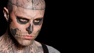 Canadian model Rick Genest, aka Zombie Boy, wears a creation by Auslander during the Fashion Rio Summer 2012 collection in Rio de Janeiro, Brazil, Saturday, June 4, 2011. (AP Photo/Felipe Dana)