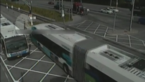 pedestrian nearly hit by bus