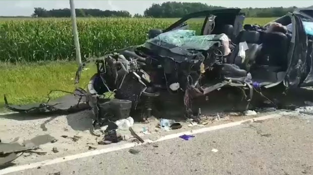 Police said reports came in of a truck with a camper attached collided head on with a tractor trailor that was towing a piece of farm equipment.