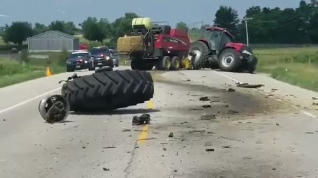 The tractor had two passengers in it that were uninjured.