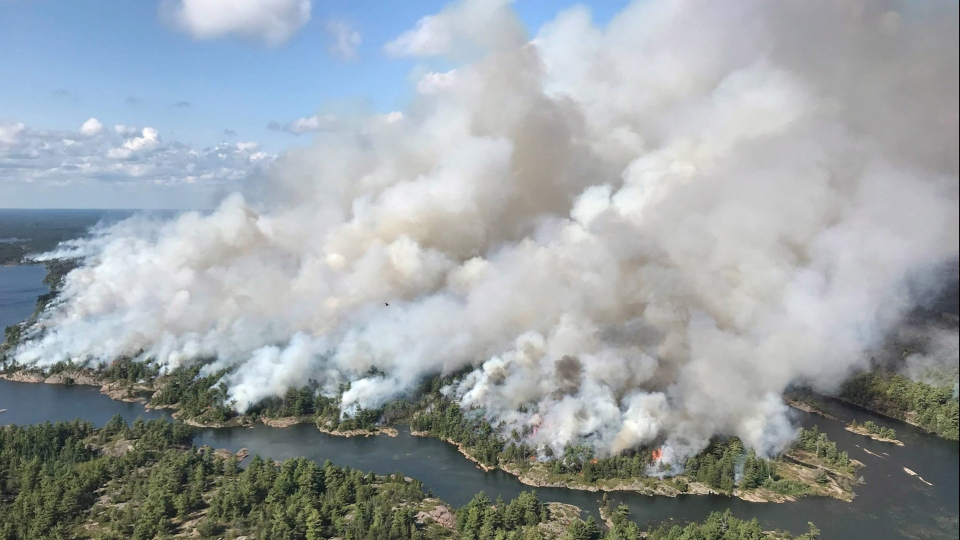 An aerial view taken over the Parry Sound 33 fire is shown in this handout image. (THE CANADIAN PRESS/HO-AFFES Ignition/Response Specialist-Dan Leonard)
