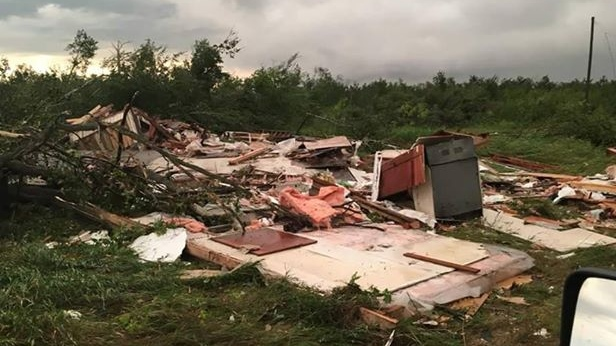 An image of a home destroyed by the tornado that struck on Friday, Aug. 3, 2018. (Submitted by Lissen Johnson)
