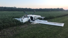 A plane after a crash landing in a field