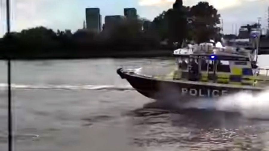 A still image from witness video of the Thames river police chase (Curtis Durham via Storyful)