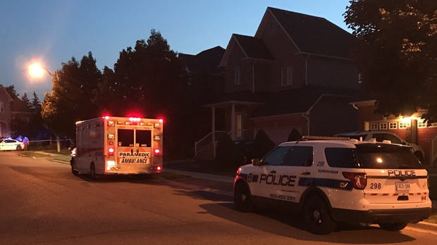 An ambulance and police car are seen on Hilson Court in Brampton on Aug. 4, 2018. (@hockeycanada25/Twitter)