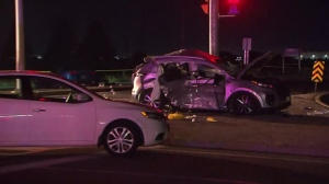 A damaged SUV is seen at the corner of Countryside Drive and Highway 50 on Aug. 4, 2018. (CP24)