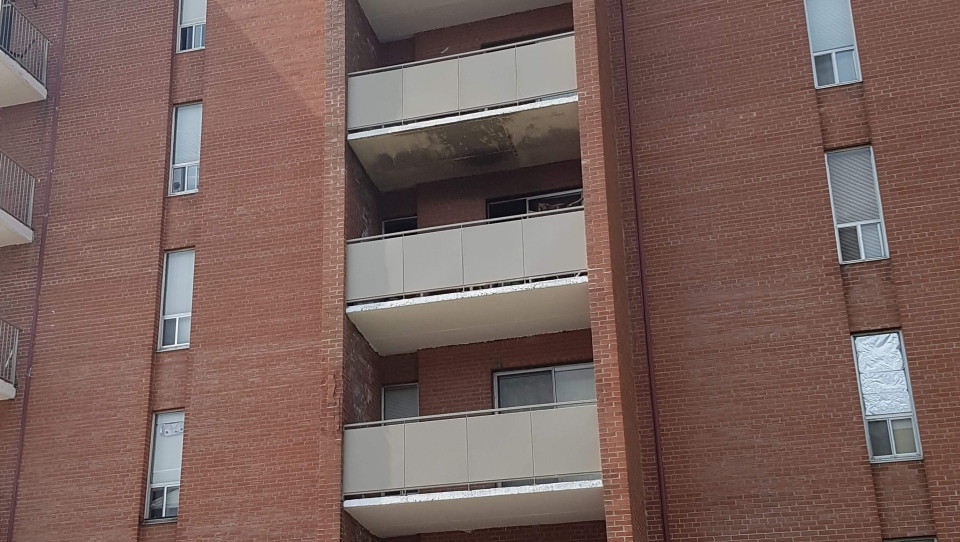 A unit on the fourth floor of the building caught fire just after midnight.