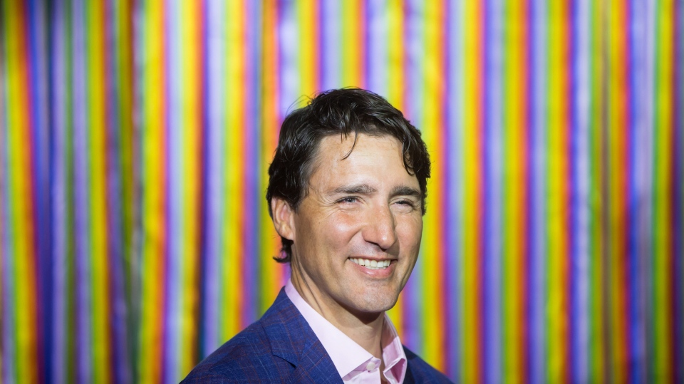 Prime Minister Justin Trudeau smiles during a breakfast hosted by PFLAG (Parents, Families and Friends of Lesbians and Gays) before marching in the Pride Parade in Vancouver, on Sunday August 5, 2018. (THE CANADIAN PRESS / Darryl Dyck)