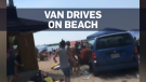 Van driver faces charges after beach incident