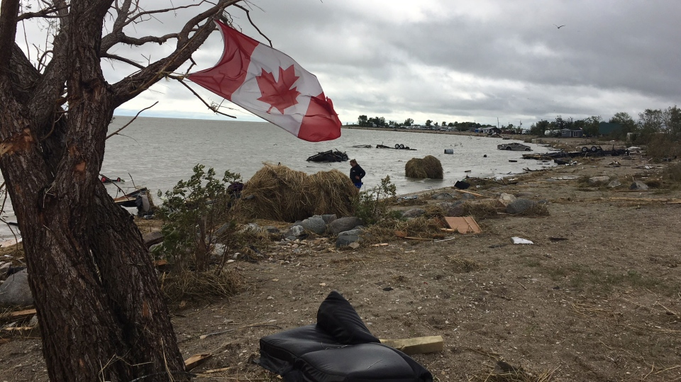Damage from a tornado is seen on a beach near Alonsa, Man.