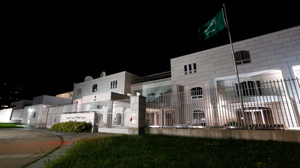 The Embassy of the Kingdom of Saudi Arabia is shown in Ottawa on Sunday, Aug. 5, 2018. Saudi Arabia says it is ordering Canada's ambassador to leave the country and freezing all new trade and investment transactions with Canada in a spat over human rights. (David Kawai/ The Canadian Press)
