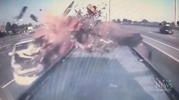 Dashcam captures devastating crash on Canada's busiest highway