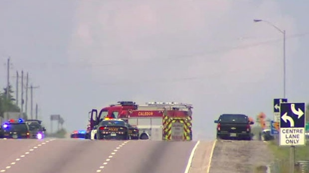 Police are at the scene of a serious crash in Caledon.
