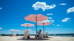 People enjoy the warm weather while protecting themselves from the sun with the pink umbrellas at Sugar Beach, in Toronto on Friday, July 6, 2018. (THE CANADIAN PRESS/Tijana Martin)