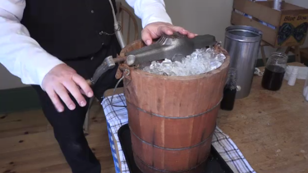 Hand-cranked ice cream in bucket of ice