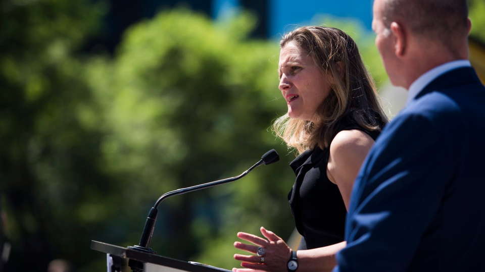 Foreign Affairs Minister Chrystia Freeland speaks at a press conference in Vancouver, B.C. on Monday, August 6, 2018. (THE CANADIAN PRESS/Jimmy Jeong)