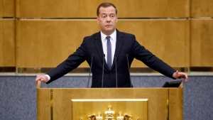 Russian Prime Minister Dmitry Medvedev speaks during a meeting of the State Duma, Russian parliament's lower house, in Moscow, Russia, Tuesday, May 8, 2018. (AP Photo/Alexander Zemlianichenko)