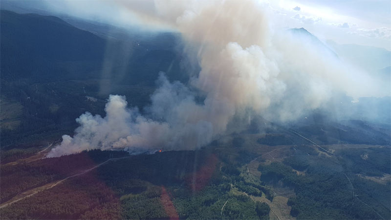 The Regional District of Nanaimo has declared a local state of emergency as a nearby wildfire grows. (B.C. Wildfire Service)