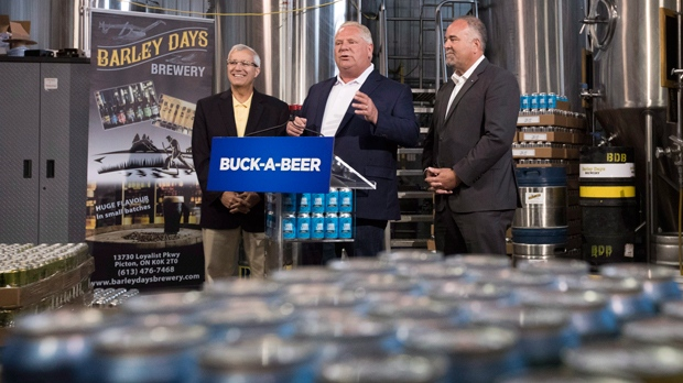 Ontario Premier Doug Ford, centre, Vic Fedeli, left, and Todd Smith announce the buck-a-beer plan at Barley Days brewery in Picton, Ont. on Tuesday, Aug. 7, 2018. THE CANADIAN PRESS/Lars Hagberg