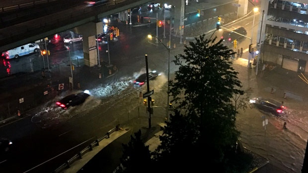 Flooding in downtown Toronto is seen. (Twitter/@CheyanneVander)