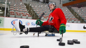 Ryan Straschnitzki takes to the ice to practice his sledge hockey skills in Calgary on Tuesday, August 7, 2018. Straschnitzki was injured in the Humboldt Broncos bus crash. THE CANADIAN PRESS/Todd Korol