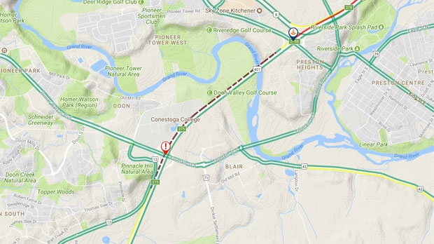 A screenshot shows the backup along Highway 401 westbound. (Source: 511ONWest/ Twitter)