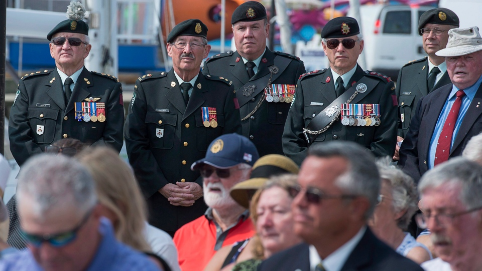 Members of the 36 Canadian Brigade Group attend a commemorative event linking the Last Steps and Canada Gate memorials to mark the connection between Canada and Belgium on the centennial of the Last Hundred Days of the Great War in Halifax on Wednesday, Aug. 8, 2018. (THE CANADIAN PRESS/Andrew Vaughan)
