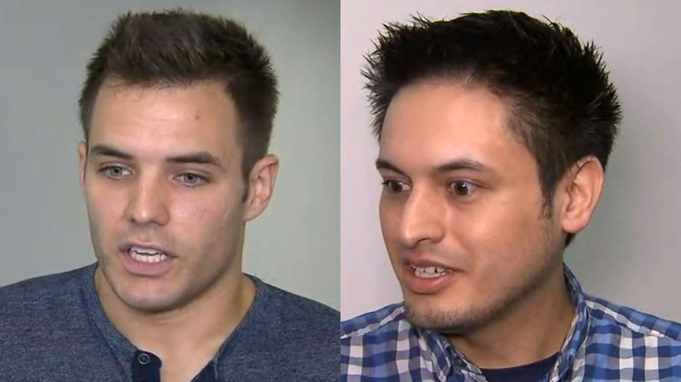 Gabriel Otrin (left) and Klever Friere (right) retell the harrowing close call they had when an elevator they were in started to flood during a torrential rainstorm in Toronto on August 7, 2018.