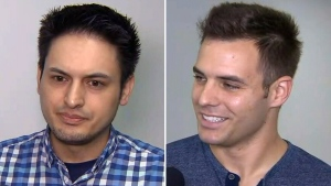 Klever Freire and Gabriel Otrin describe being rescued from a flooded elevator during a rain storm in Toronto on Aug. 7, 2018.