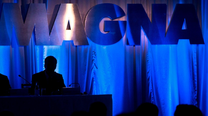 A Magna International Inc. logo is seen at the company's annual general meeting in Toronto on May 10, 2013. (THE CANADIAN PRESS/Nathan Denette)