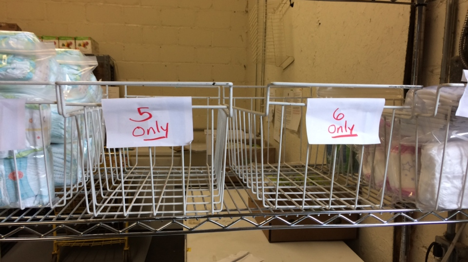 Empty food bank shelves show the need for size 3 and up diapers. (CTV News/Rob Cooper)